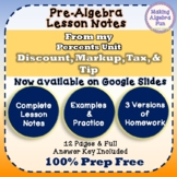Pre-Algebra Sales Discount, Markup, Tax & Tip Notes & Differentiated Homework