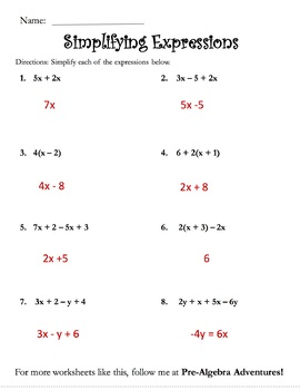 Algebra FREE {Simplifying Expressions} {Pre Algebra FREE Activity}