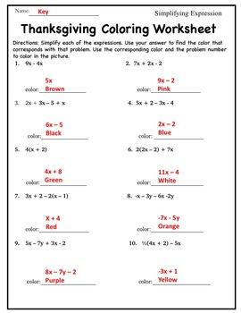 Thanksgiving-Pre Algebra Activity {Simplifying Algebraic Expressions Coloring}