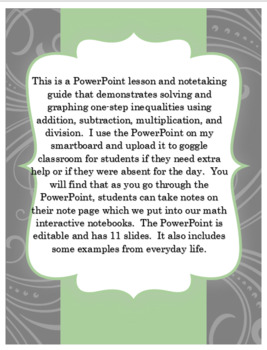 Pre-Algebra Solving One-Step Inequalities PowerPoint and Interactive Notebook