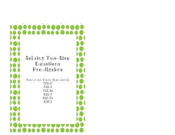 Pre-Algebra Solving Two Step Equations Task Cards