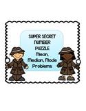 Pre Algebra Super Secret Number Puzzle Mean Median Mode