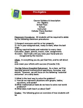 Pre-Algebra Syllabus in Christian School