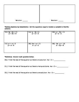 Pre-Algebra Systems of Equations Quiz