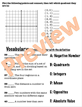 Pre-Algebra Test Chapter Two -Editable