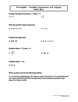 Pre-Algebra Tests (Also Includes Quizzes and Worksheets)