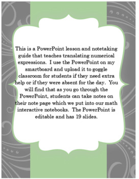 Pre-Algebra Translating Numerical Expressions PowerPoint and Note taking Guide