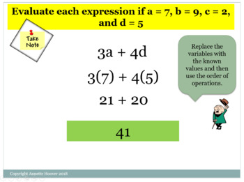 Pre-Algebra Translating and Evaluating Algebraic Expressions PP and INB