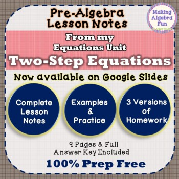 Pre-Algebra Two Step Equations Notes & Differentiated Homework