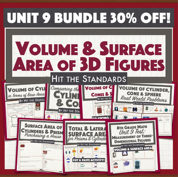 8th Grade Measurement of 3D Figures: Volume & Surface Area Unit 9 BUNDLE 30%OFF