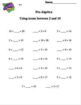 Pre - Algebra - Using Terms 2 and 10