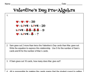 PreAlgebra  Valentines Day Themed Worksheet by Teach Math With Me