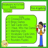 Pre-Algebra Vocabulary Activities