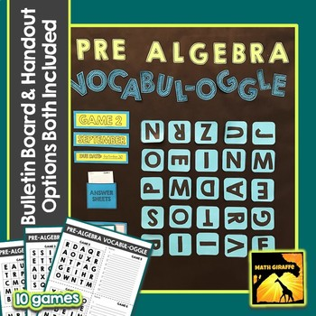 Pre-Algebra Vocabulary Game with Bulletin Board Option Included
