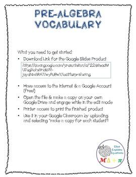 Pre Algebra Vocabulary Google INB