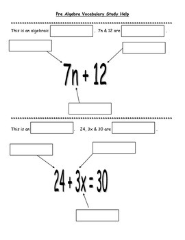 Pre-Algebra Vocabulary Practice with Mystery Flap Boxes Common Core