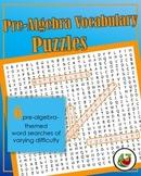Pre-Algebra Vocabulary Word Search Puzzles