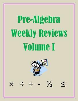 Pre-Algebra Weekly Reviews