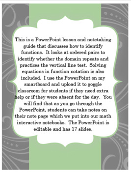 Pre-Algebra What is a function PowerPoint and Note-taking Guide