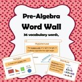 Pre Algebra Word Wall (ESL Friendly)