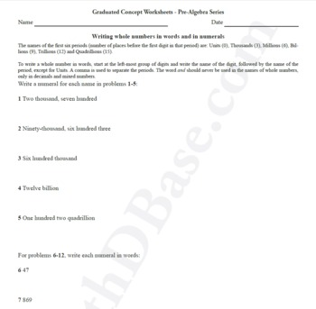Pre-Algebra Worksheet 2 - Writing whole numbers in words and in numerals