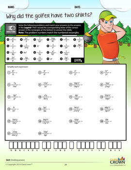 Pre-Algebra Worksheets, Integers, Variable Expressions - Math Riddles - 5th–8th