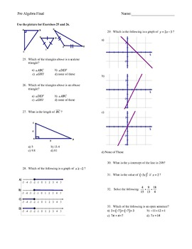 Pre-Algebra Year-End Review or Pre/Post Test