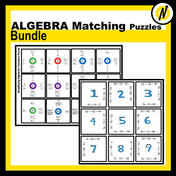 Pre-Algebra and Algebra Matching Puzzles Bundle