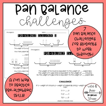 Pre-Algebraic Skills: Pan-Balance Challenge... by Wild and Free in ...