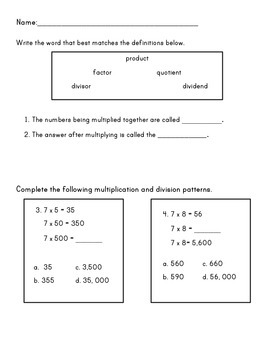Pre-Assessment Mental Math Dividing and Multiplying Greater Numbers