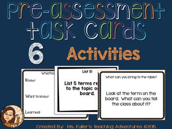Pre-Assessment Task Cards