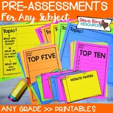 Pre-Assessments for Any Subject