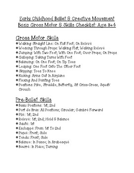 Pre-Ballet Creative Movement Checklist: Ages 3+4