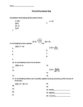 Pre Cal Functions Test