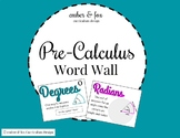 Pre-Cal Word Wall Pack 1 (14 Vocabulary Words)