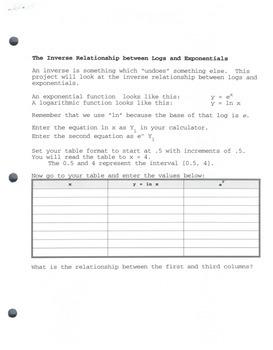 Pre-Calc:  Inverse Relationship Between Logs & Exp (Graph Calc)