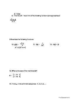 Pre Calc Pre-Assessment