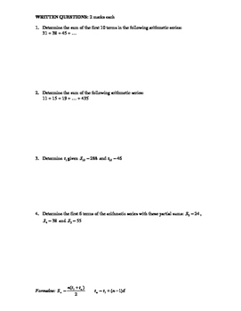 Pre-Calculus 11: Arithmetic Sequences & Series Quiz 1 with FULL SOLUTIONS