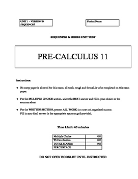 Pre-Calculus 11 BUNDLED COURSE TESTS & QUIZZES with FULL SOLUTIONS