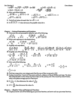 Pre-Calculus 11 Final Comprehensive Review (with Solutions)