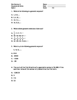 Pre-Calculus 11: Geometric Sequences & Series Quiz with FU