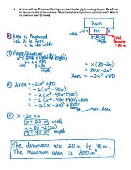 Pre-Calculus 11: Graphing Quadratics Functions Quiz 3 with FULL SOLUTIONS
