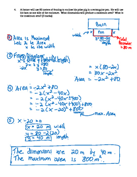 Pre-Calculus 11: Graphing Quadratics Functions Quiz 3 with FULL SOLUTIONS