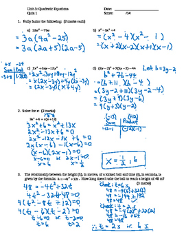 Pre-Calculus 11: Quadratics Equations Quiz 1 with FULL SOLUTIONS