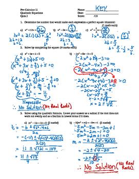 Pre-Calculus 11: Quadratics Equations Quiz 2 with FULL SOLUTIONS