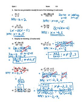 Pre-Calculus 11: Rational Expressions Quiz 1 with FULL SOLUTIONS