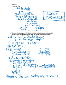 Pre-Calculus 11: Systems of Equations Quiz with FULL SOLUTIONS