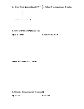 Pre-Calculus 11: Trig Quiz-Angles in Standard Position with FULL SOLUTIONS