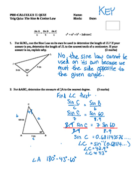 Pre-Calculus 11: Trig Quiz-Sine and Cosine Law with FULL SOLUTIONS