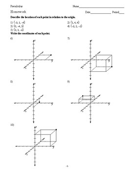 Pre Calculus - 3D Vectors - Homework Pack